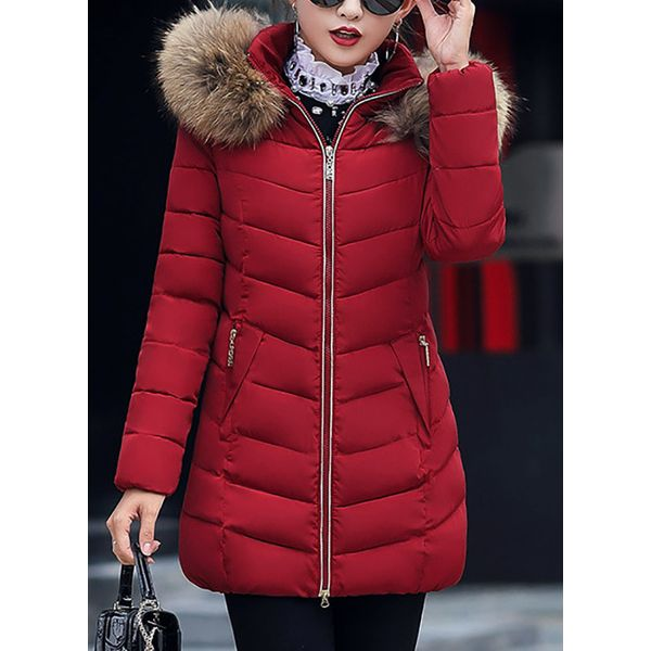 Long Sleeve Hooded Removable Fur Collar Padded Coats (1715349553) 5