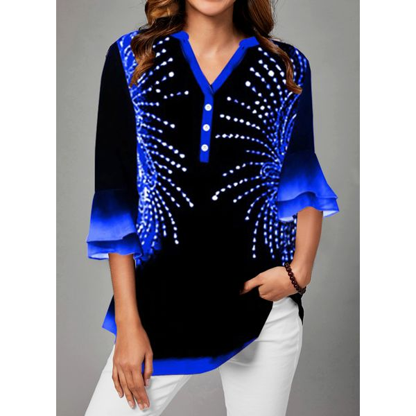 Color Block Casual V-Neckline 3/4 Sleeves Blouses (1645500402)
