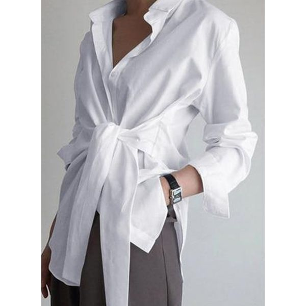Solid Casual Collar Long Sleeve Blouses (1645557713)