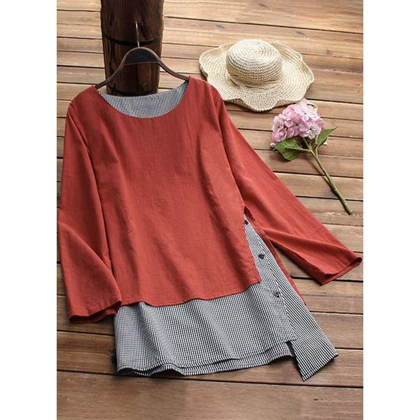 Color Block Casual Round Neckline Long Sleeve Blouses (1645379103) 11