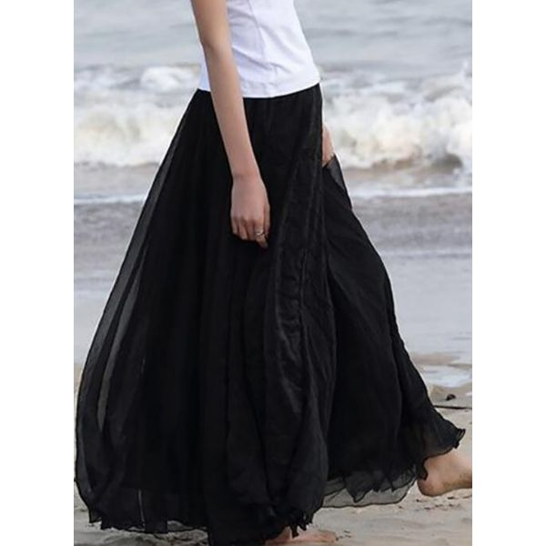 Solid Maxi Casual Skirts (1725377272) 2