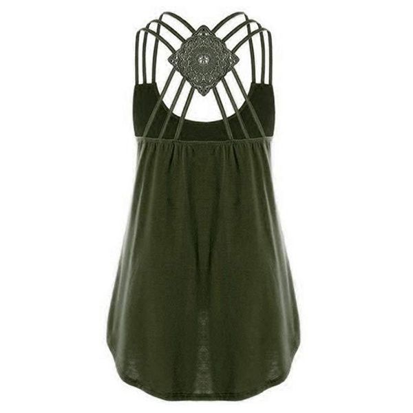 Solid Casual Round Neckline Sleeveless Blouses (1645419257, Black;blue;gray;green;pink;rose;purple;dark green;military green