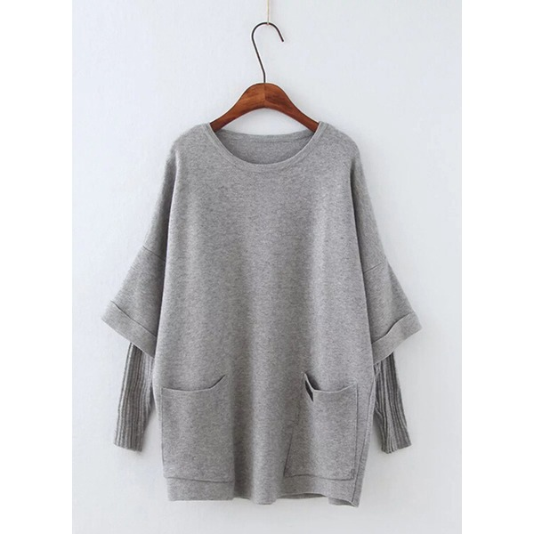 Round Neckline Solid Loose Pockets Shift Sweaters (1675204256) 4