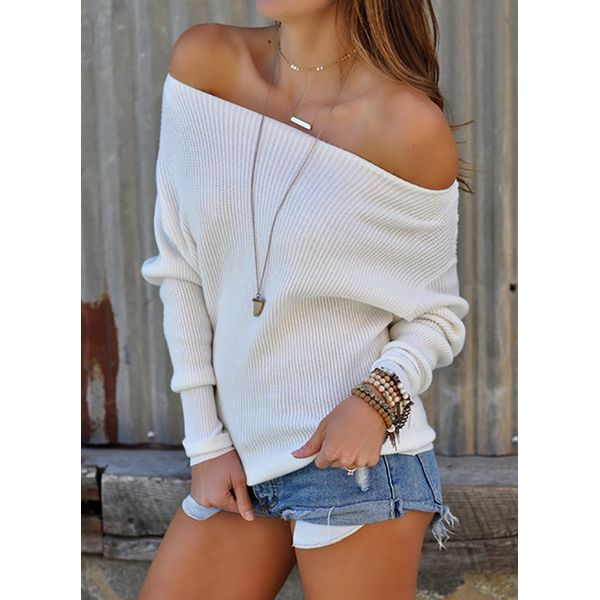 Solid Casual Off the Shoulder Long Sleeve Blouses (1645378973) 1