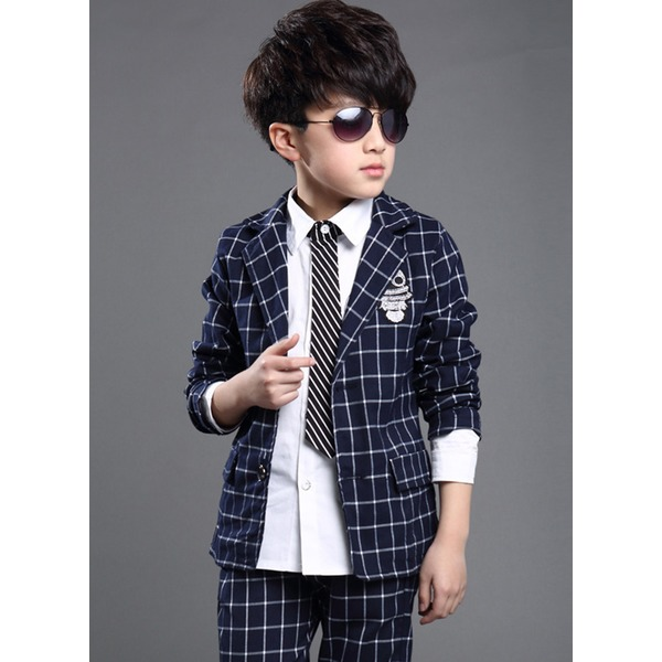 Boys' Plaid Going out Long Sleeve Clothing Sets (30165285358) 12