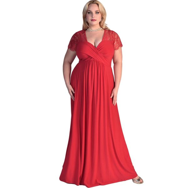 Plus Size Solid Short Sleeve Maxi X-line Dress (1955380220) 4