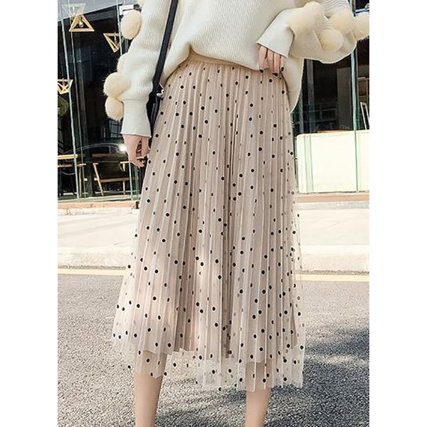 Solid Mid-Calf Casual Skirts (1725377816) 11