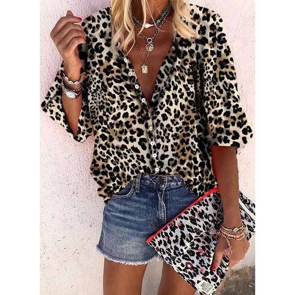 Leopard Casual Collar 3/4 Sleeves Blouses (1645554428)