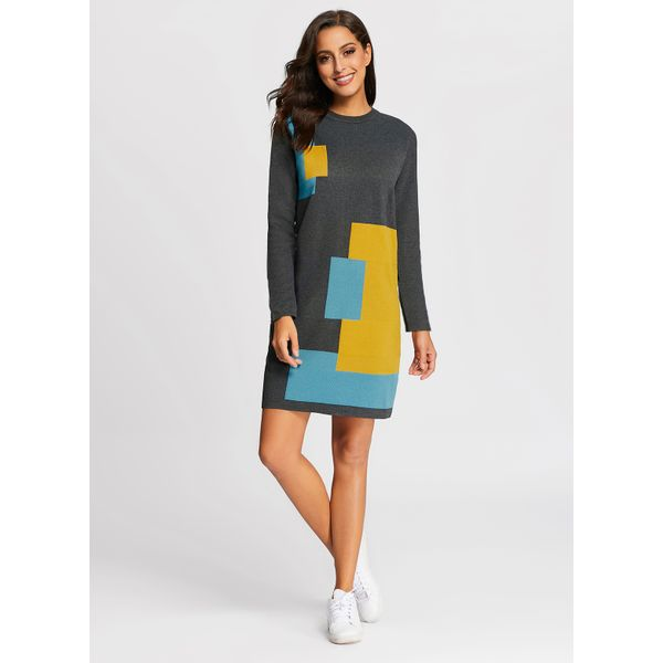 Color Block Sweater Long Sleeve Knee-Length Shift Dress (01955374977) 3