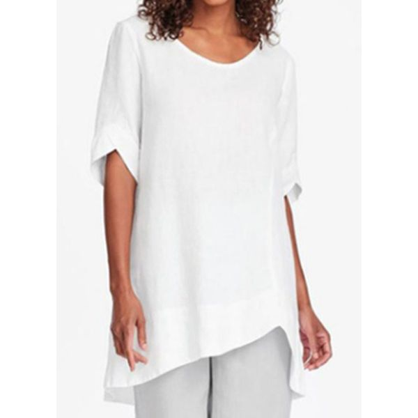 Solid Casual Round Neckline Half Sleeve Blouses (1645593556)