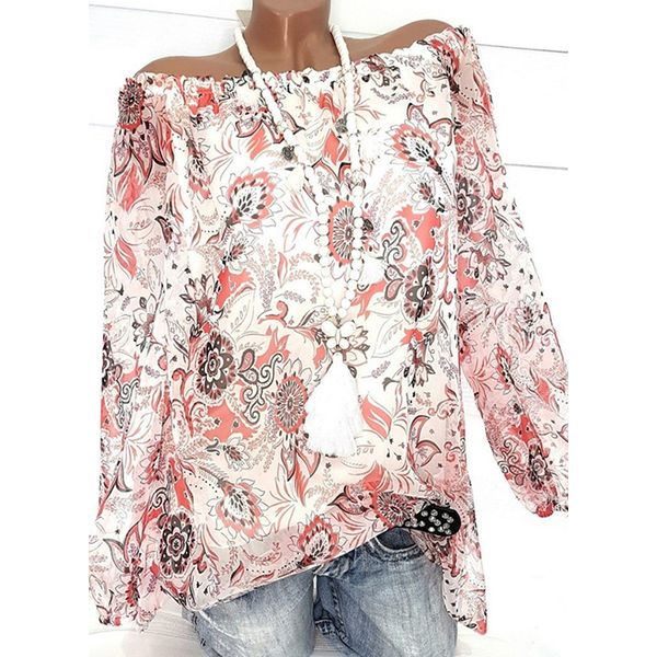 Floral Casual Off the Shoulder Long Sleeve Blouses (1645382441) 5