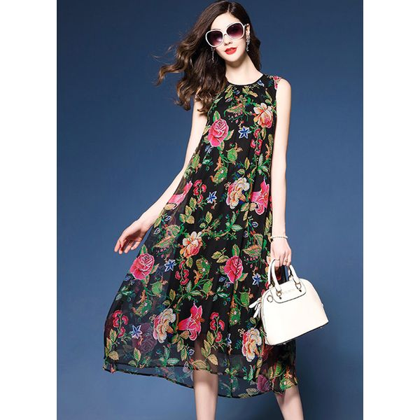 Floral Sleeveless Midi Shift Dress (1955379869) 9