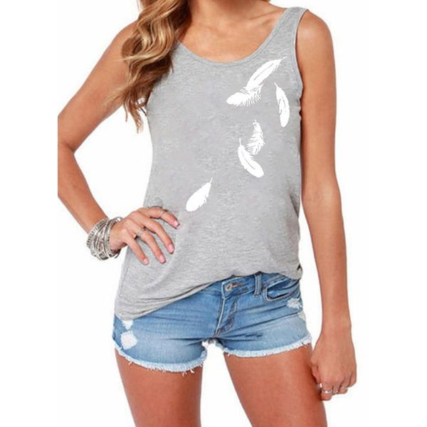 Floral Round Neck Sleeveless Casual T-shirts (1685592559)