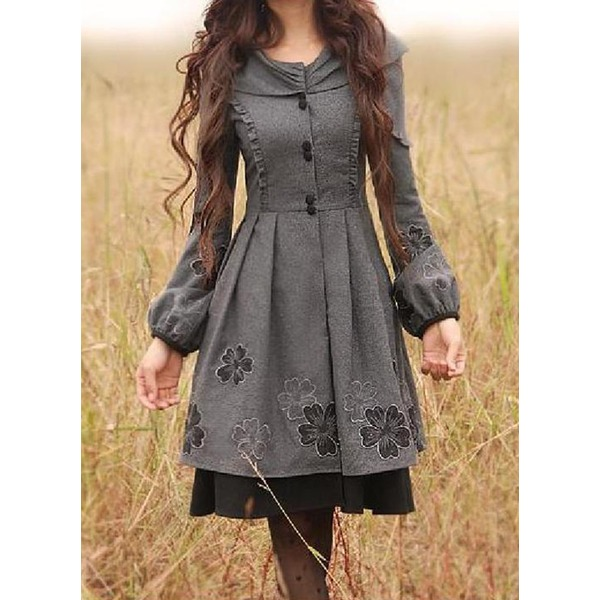 Long Sleeve Round Neck Buttons Coats (1715123320) 1