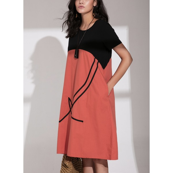 Color Block Short Sleeve Midi Shift Dress (1955219154) 10