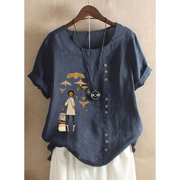 Character Casual Round Neckline Short Sleeve Blouses (1645441357)