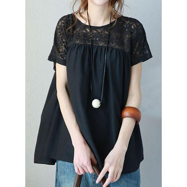Solid Casual Round Neckline Short Sleeve Blouses (1645382463) 2