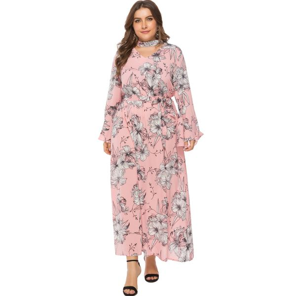 Plus Size Floral Hollow Out Long Sleeve Maxi X-line Dress (1955377386)