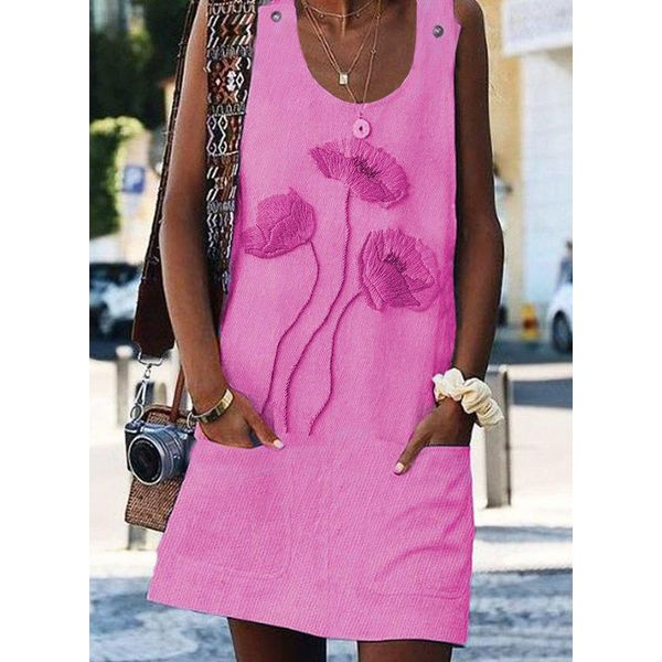 Casual Floral Tunic Round Neckline A-line Dress (1955587835)
