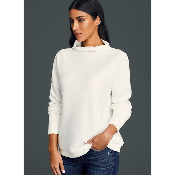 High Neckline Solid Loose Long Shift Sweaters (01675379425) 6