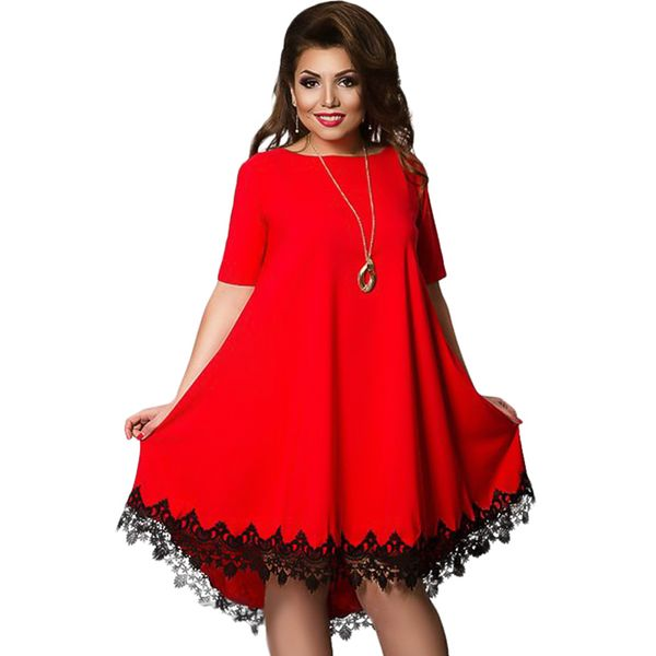 Plus Size Color Block Lace Half Sleeve Midi Shift Dress (1955380209) 9