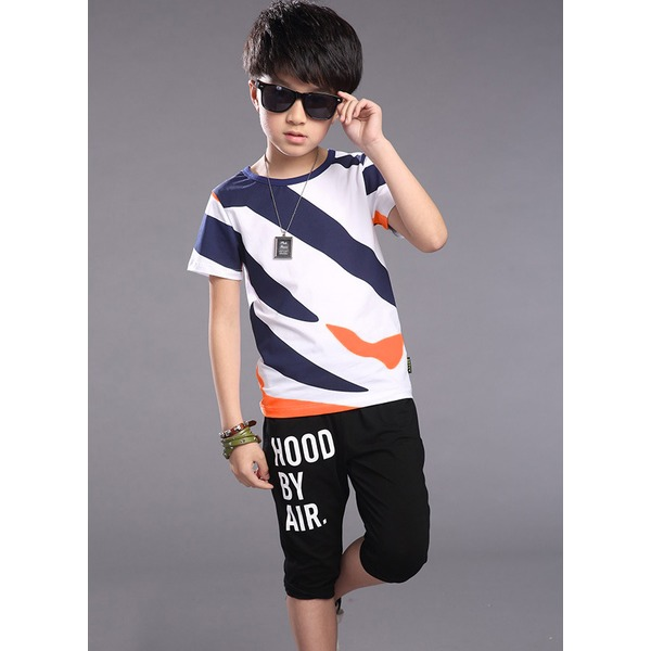 Boys' Color Block Daily Short Sleeve Clothing Sets (30165285418) 1