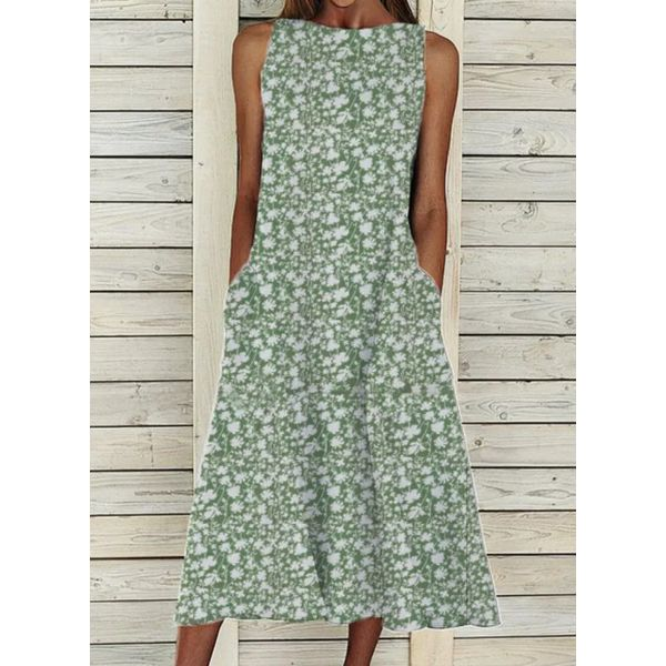 Casual Floral Tunic Round Neckline Shift Dress (1955593927)