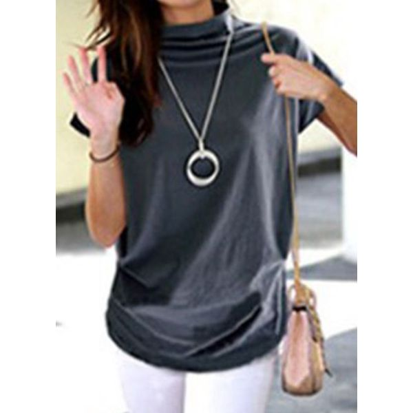 Solid High Neckline Short Sleeve Casual T-shirts (1685593579)