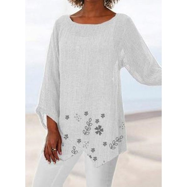 Floral Casual Round Neckline Long Sleeve Blouses (1645593432)
