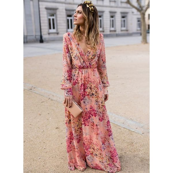 Floral Long Sleeve Maxi X-line Dress (1955375160, Pink