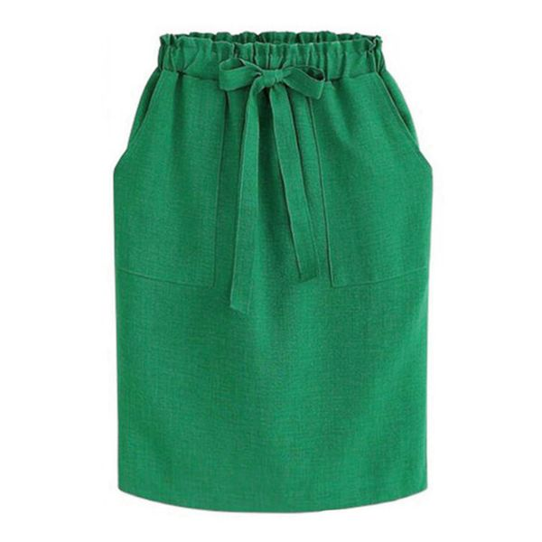 Solid Above Knee Casual Sashes Skirts (1725383911, Black;blue;burgundy;gray;green;khaki
