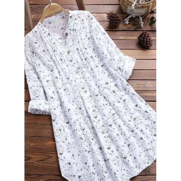 Floral Casual Round Neckline Long Sleeve Blouses (1645513344)