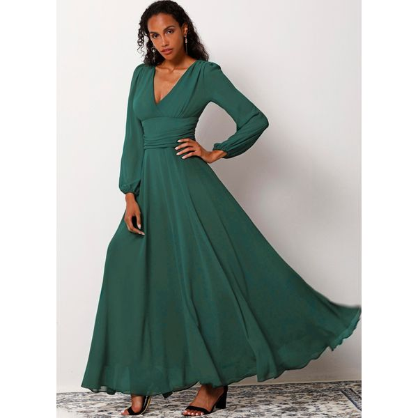 Solid Long Sleeve Maxi X-line Dress (1955181750) 9