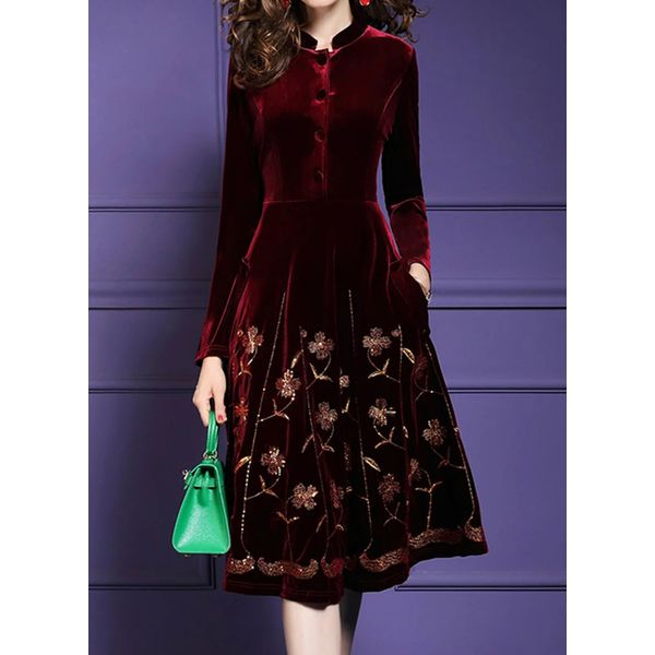 Casual Floral Buttons Collar A-line Dress (1955457583)