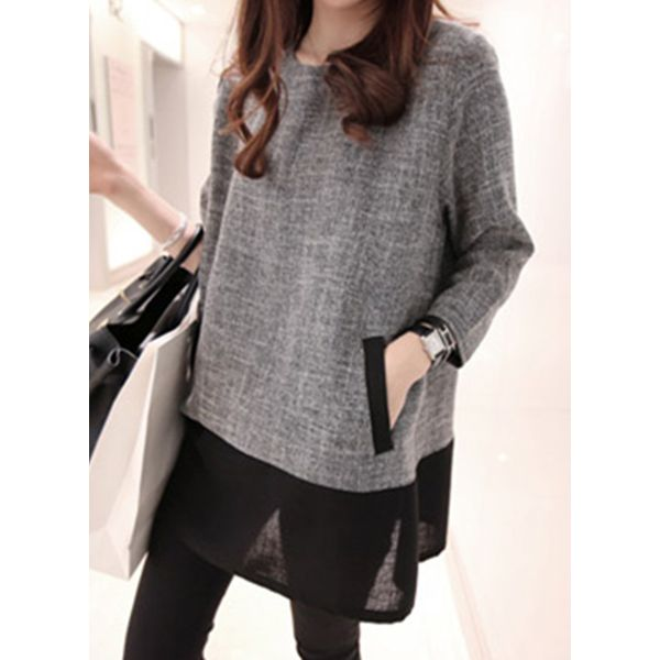 Round Neckline Color Block Loose Long Pockets Shift Sweaters (1675376833) 2