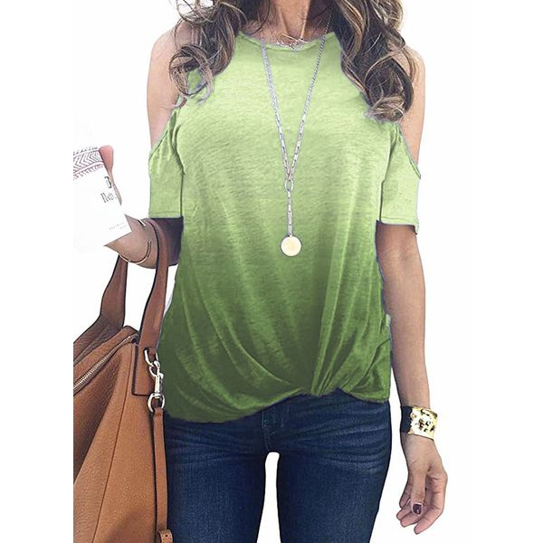 Color Block Round Neck Short Sleeve Casual T-shirts (1685598350)