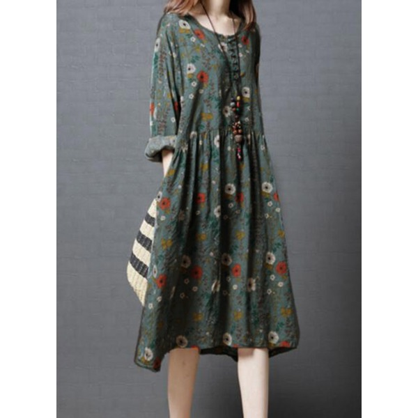 Floral Buttons Long Sleeve Midi Shift Dress (1955285008) 9