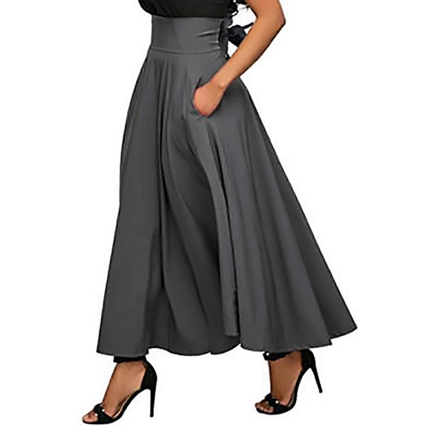 Solid Maxi Pockets Skirts (1725315650) 10