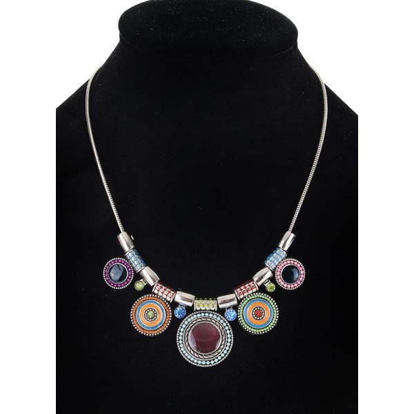 Casual Round Crystal Pendant Necklaces (1845571552)