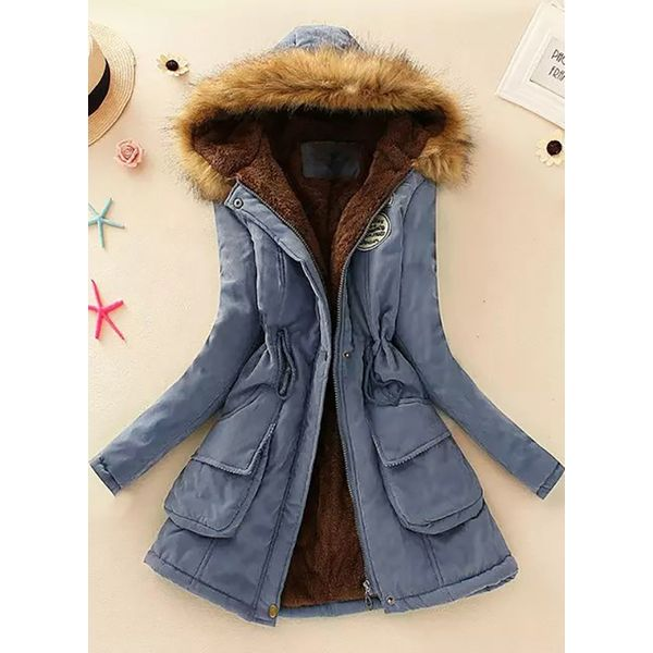 Long Sleeve Hooded Pockets Unremovable Fur Collar Parkas (1715328492) 9