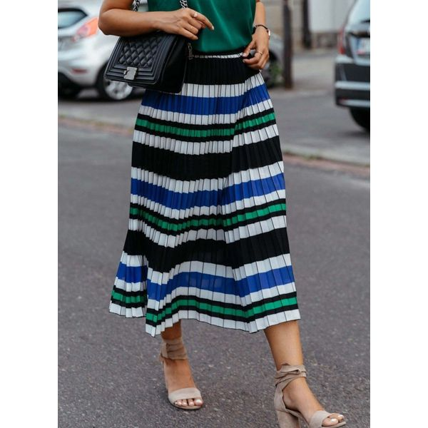 Color Block Mid-Calf Casual Skirts (1725585699)