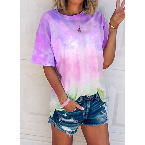 Color Block Casual Round Neckline Short Sleeve Blouses (1645590909)