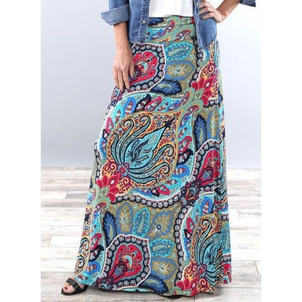 Floral Maxi Casual Pattern Skirts (1725596653)