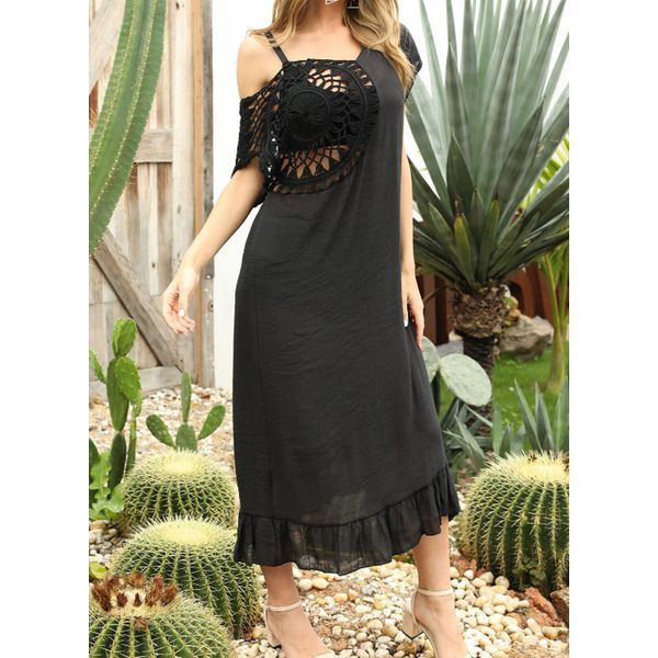 Polyester Solid Mesh Cover-Ups Swimwear (30015586827)