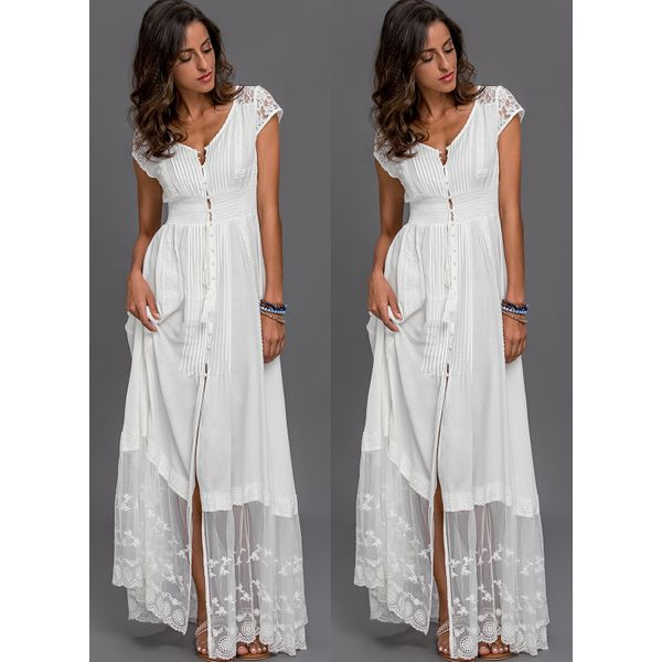 Solid Embroidery Peasant Maxi Shift Dress (01955336387) 9