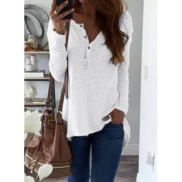 Solid V-Neckline Long Sleeve Blouses (1645316037) 1
