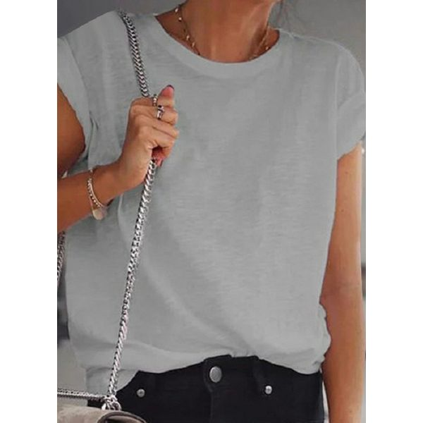 Solid Round Neck Short Sleeve Casual T-shirts (1685567184)