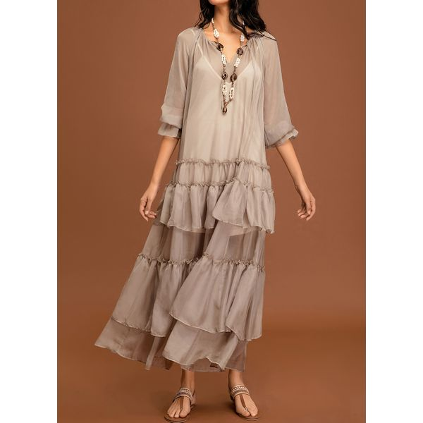 Solid Wrap Long Sleeve Maxi A-line Dress (01955344005) 3