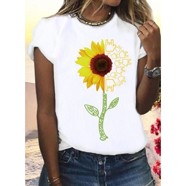 Floral Round Neck Short Sleeve Casual T-shirts (1685568613)