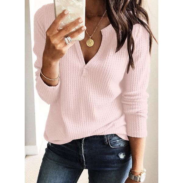 Solid Casual V-Neckline Long Sleeve Blouses (1645352355) 6
